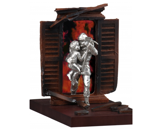 child rescue pewter firefighter