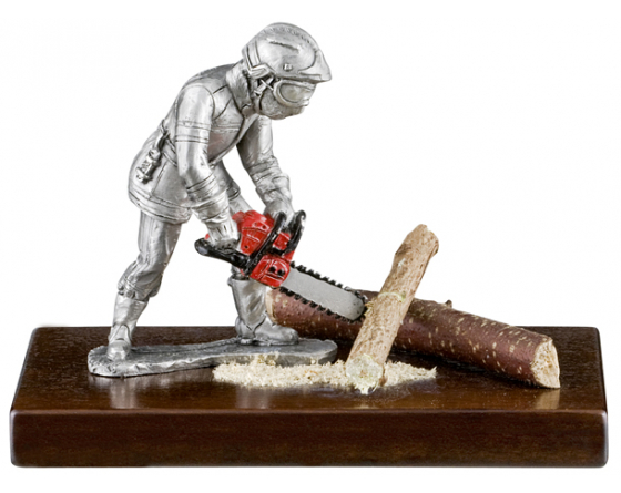 Road clearing pewter firefighter